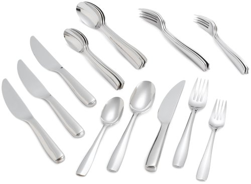 Gourmet Settings Cabaret 20-Piece Stainless Steel Flatware Set, Service for - Handle Blunt Knife Hollow
