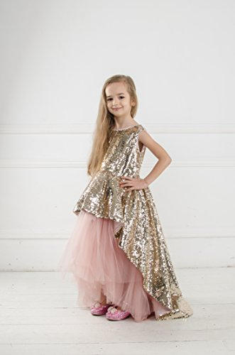 Princess sequin tutu dress Flower girl sequin dress with train, princess dress, girls gold sequin dress, birthday dress first communion by MatchingLook