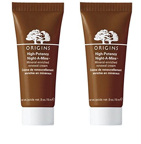 Origins High Potency Night A Mins Renewal Cream - 0.5 oz Tube Deluxe Travel Size (Pack of Two) (Night Replenisher)