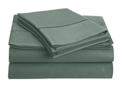 Chateau Home Collection 800-Thread-Count Egyptian Cotton Deep Pocket Sateen Weave Sheet Set (QUEEN, French Blue)