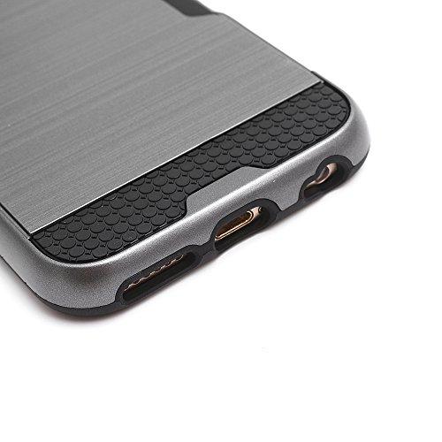 """iProtect Apple iPhone 6 (4,7"""") TPU+PC Hybrid Hülle Hard Case Schutzhülle mit Fach schwarz und grau"""