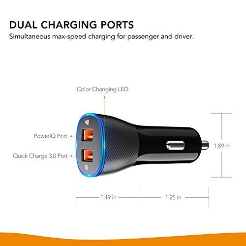 Roav by Anker SmartCharge Spectrum, Connected Car APP, Car-Battery Monitor, Car Locator , 30W Quick Charge 3.0 and PowerIQ 2.0 Fast Charging 2-Port USB Car Charger with 16000 Color Led Light
