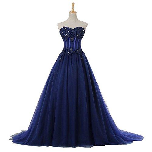 Sun Goddess Robe De Soirée Haut De Gamme La Mariée Banquet Bleu Marine Sans Manches Dentelle Crescencia La Cour Parti Prom Gown,Bleu Marine,8