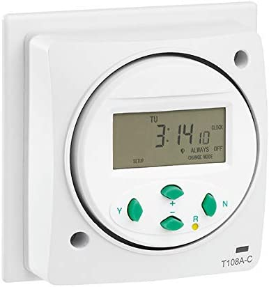 24 Hour Greenbrook T108A-C Electronic Socket Box Mounted Time Switch 7 Day