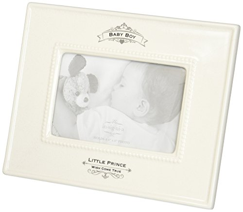 Insignia 4050325 Little Prince Baby Boy Photo Frame, 9.5 inch, Ivory