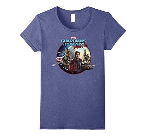 Womens Marvel Guardians of Galaxy 2 Team Round Graphic T-Shirt C1 Medium Heather - Round Blue C1