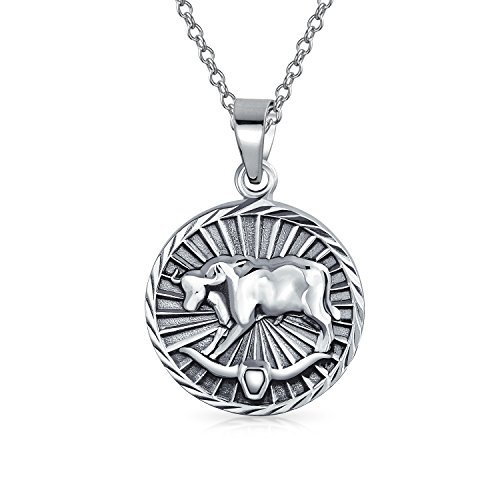 Taurus Zodiac Sign Astrology Horoscope Round Medallion Pendant For Men Women Necklace Antiqued Sterling Silver