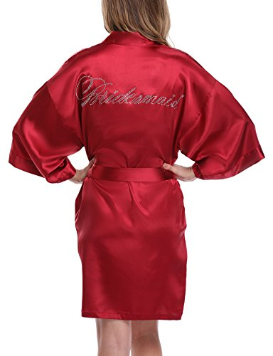 Women's Bride Bridesmaid Robes Short Kimono Robe Dressing Gown for Wedding, Wine red, XS