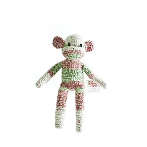 [The Monkey Project Handmade Pink and Green Sock Monkey Doll] (Sock Puppet Costume Monkey)