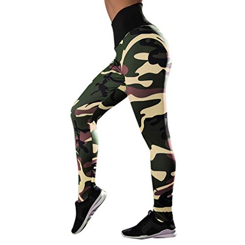 PASATO Women High Waist Tummy Control Workout Print Leggings Fitness Sports Gym Running Yoga Athletic Pants(Green,L=US:M)
