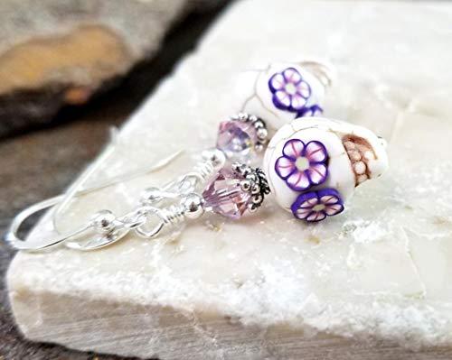 Sugar Skull Halloween Earrings Sterling Silver White with Violet Flower Eyes Bali Sterling Silver Bead Caps