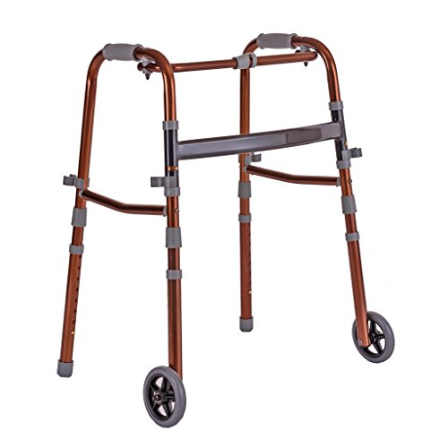 Walking Aids Four - Legged Lightweight Folding Rollator Walker Aid Adjustable Height Walking Stick with Wheel for the Elderly Adult Seniors Disabled Handrails Crutches,Brown,Max Load 136kg from HGNA-Walker