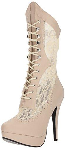 Rosa 115 10 US Plateau Pleaser Victorian Chloe und Steampunk Seiten Stilettferse 40 Stiefel Creme Aufkleber mit EU ZdqxgO