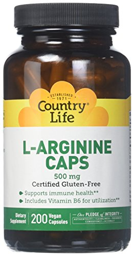 Country Life L-Arginine 500 mg with B-6, Vegetarian Capsule,  200-Count by Country Life