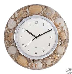 Round seashell wall clock kitchen dining for Seashell clock