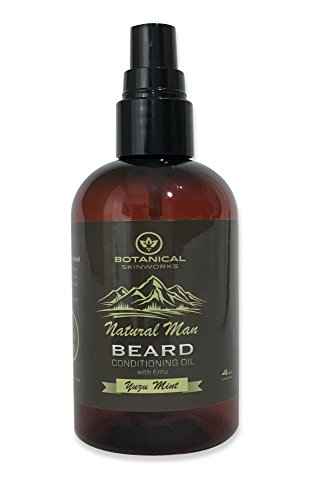 Natural Man Yuzu Mint Beard Oil with Argan, Emu and Jojoba Oils – All Natural Beard Conditioner by Botanical Skinworks, 4 Ounce