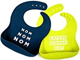 Simka Rose Silicone Bib - Waterproof Baby Bibs for Girls and Boys - Perfect for Babies and Toddlers - Easy to Clean Feeding Bibs - Excellent Baby Shower Gift - Set of 2 (Navy/Lime)