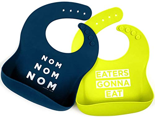 Free Set Gift Camera - Simka Rose Silicone Bib - Waterproof Baby Bibs for Girls and Boys - Perfect for Babies and Toddlers - Easy to Clean Feeding Bibs - Excellent Baby Shower Gift - Set of 2 (Navy/Lime)