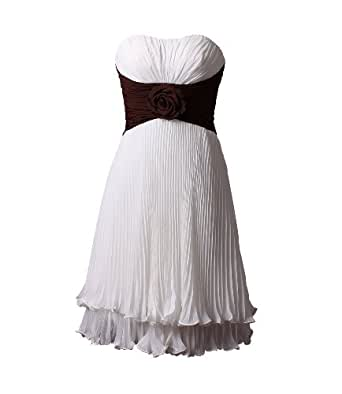 Winey Bridal Strapless Short Knee Length Strapless Floral Pleated Chiffon Corset Back Cheap Bridesmaid Dresses (12, White with Brown Waist)