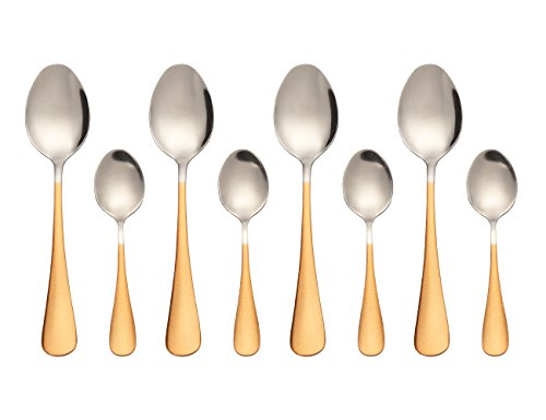 One Handled Bowl (Stainless Steel Oval Dessert Spoons Mini Dessert Spoons Iced Tea Spoons Set of 8(Gold))