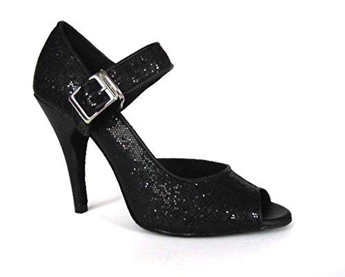 Crc Womens Haut Talon Mode Salle De Bal Latin Tango Salsa Sequin Mary Jane Ouvert Toe Dance Sandales Noir