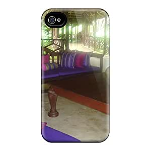 Rugged Skin Case Cover For Iphone 4/4s- Eco-friendly Packaging(purple Terrace For Jasnas)