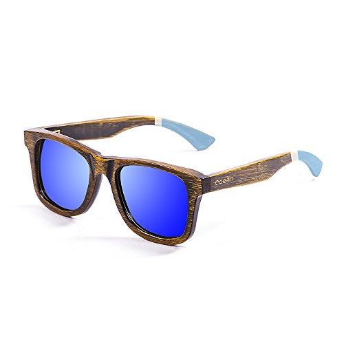 Ocean Sunglasses Nelson Lunettes de Soleil Mixte Adulte, Bamboo Weathered Black Frame/Blue/White Arms/Revo Blue Lens