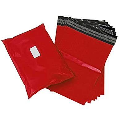 Red Poly Plastic Polythene for Postal Postage Packaging Courier Mail Pouch Sacks Sticky Self Seal Flap Comtechlogic/® CM-5086 Strong Tough Mailing Bags 1, Sample 6x9mm Ultra Premium Quality