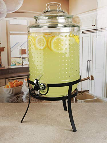 Glass Beverage Dispenser With Stand - Circleware 69184 Vintage Dots Beverage Dispenser with Metal Stand, Glass Lid & Handle, Fun Party Home Entertainment Glassware Water Pitcher for Juice Drinks, Cold Beer, 1.9 Gallon, Hobnail