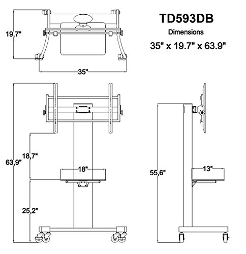 TransDeco TV Stand/Cart Flat Panel Mounting System for up to 75 inch TD593DB, Dark Oak/Black by TransDeco (Image #5)