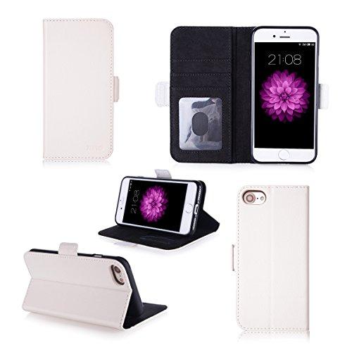 Apple iPhone 7 / iPhone 8 4.7 pouces : Housse Portefeuille luxe blanche Cuir Style avec stand - Etui wallet coque de protection blanc iPhone7 / iPhone8 avec porte cartes - Accessoires pochette XEPTIO