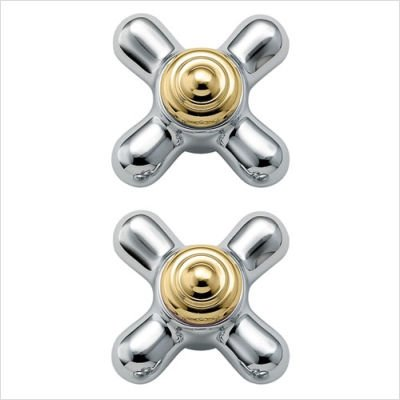 Monticello Set of Two Small Cross Handle Inserts Finish: Porcelain and Brass Cross Handle Inserts Finish