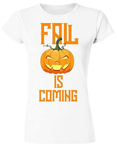 Fall is Coming Smiling Halloween Pumpkin Women's T-Shirt Small White