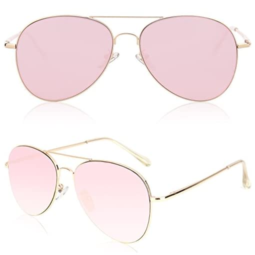 CLASSIC AVIATOR SUNGLASSES PURPLE COLOR TINTED LENS METAL FRAME W//SPRING HINGES