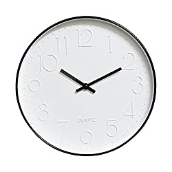 Foyou 12 Inch Silent Non Ticking Quartz Modern Round Decoretive Wall Clock (Black)