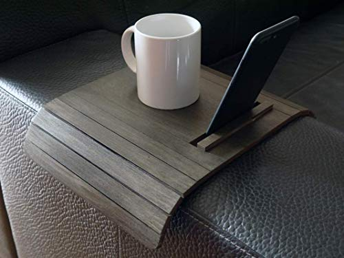 Wooden sofa arm table with smartphone and tablet stand in many colors as wenge Small flexible over the couch side tables Narrow folding dining settee slinky armrest tray Armchair trays server
