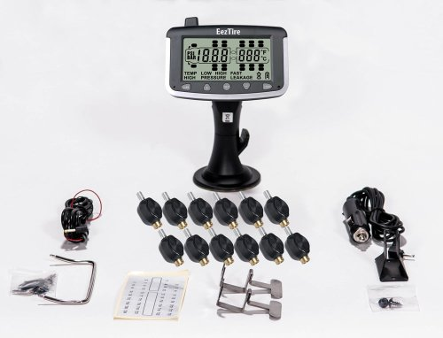 EEZTire Tire Pressure Monitoring System - 12 Flow-Through Sensors (TPMS) - FREE U.S. SHIPPING AT CHECK OUT