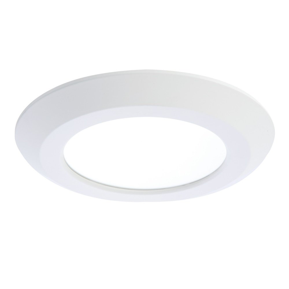Halo SLD 5 in. or 6 in. Matte White Integrated LED Low Profile Recessed Surface Mount Disk Light 90 CRI, 3000K Warm White