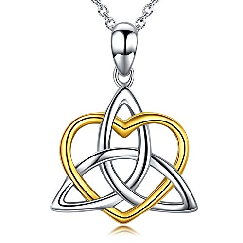 - Celtic Knot Jewelry, Celtic Knot Necklace 925 Sterling Silver Triangle Irish Heart Pendant Necklace for Women, 18