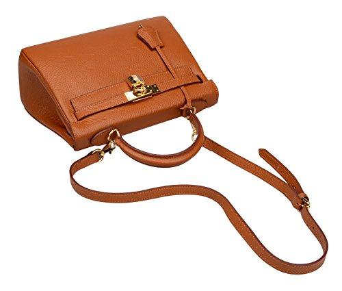 Ainifeel Women's Padlock Shoulder Handbags Hobo Bag (28cm, Brown) by Ainifeel (Image #5)