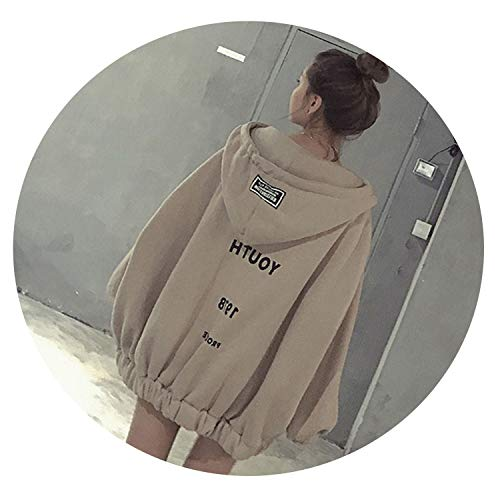 Harajuku Hoodies Women Oversized Zipper Winter Pullover Womens Letter Print Kpop Hoody Pullover,Khaki,XL