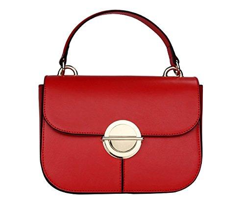 PINCHU Bolso De Cuero con Volantes Sobre Messenger Bolso De Mujer con Bolsillo,Brown Red