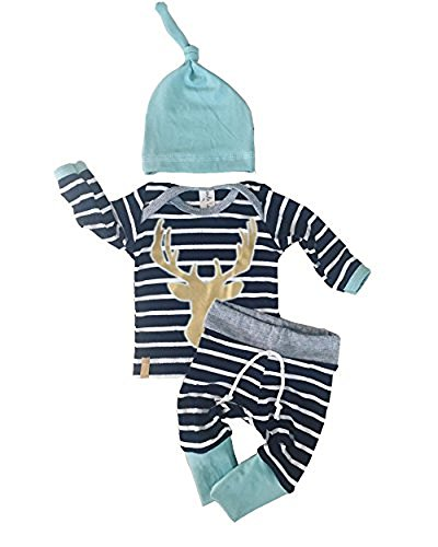 3pcs/Set Newborn Baby Boys Girls Striped Long Sleeve Deer Tops Pants Hat Outfits (Infant Top Hat)