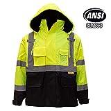 Troy Safety New York Hi-Viz Workwear Men's Ansi Class 3 High Visibility Safety Bomber Jacket with Zipper, PVC Pocket, Black Bottom, Qty 1 (Medium, Lime Green)