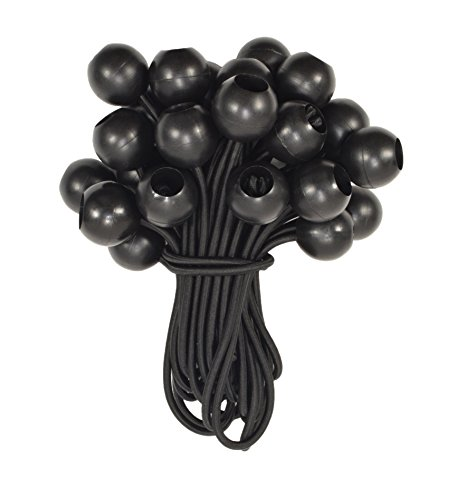 25 Pack   HTB-6057 6 inch Long Black Ball Bungee Cords