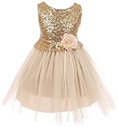 Girls Sequins Glitter Party Dress