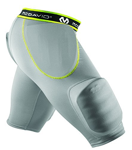 McDavid Rival Integrated Football Girdle with Hardshell Thigh Guard, Large, Grey/Bright Yellow