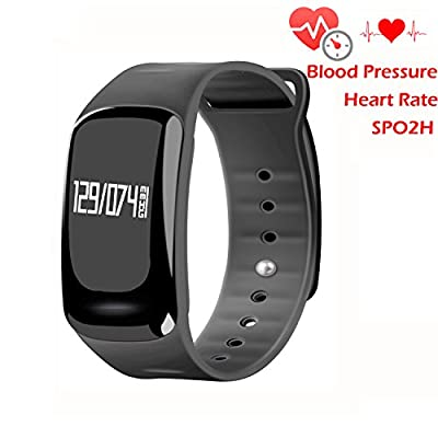 Blood Pressure Bracelet Fitness Tracker - Homestec S4 Smart Watch with SPO2H Heart rate monitor Sleeping Management Pedometer with OLED Touch Screen for Android iOS