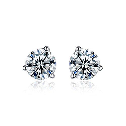 NEWBARK White Plated Heart Earrings