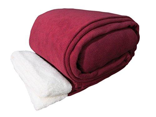 Cozy Fleece Sherpa Trim Microfleece Sheet Set, King, Wine